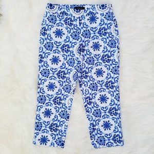 Talbots Women pants capris size 4P blue white